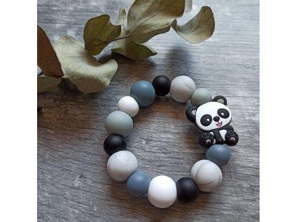 Kousátko do ručičky - Panda černo-šedá
