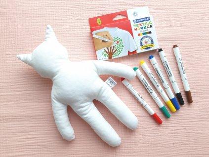Kreativní kočička + fixy na textil