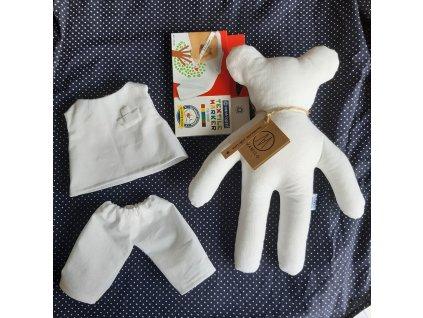 Kreativní medvídek  + triko + kalhoty + fixy na textil