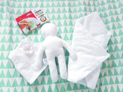 Kreativní panenka  + zavinovačka + šaty + fixy na textil