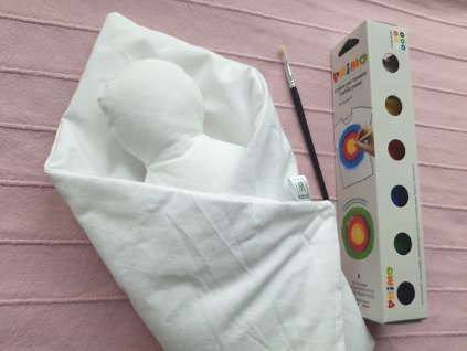Kreativní panenka  + zavinovačka + barvy na textil