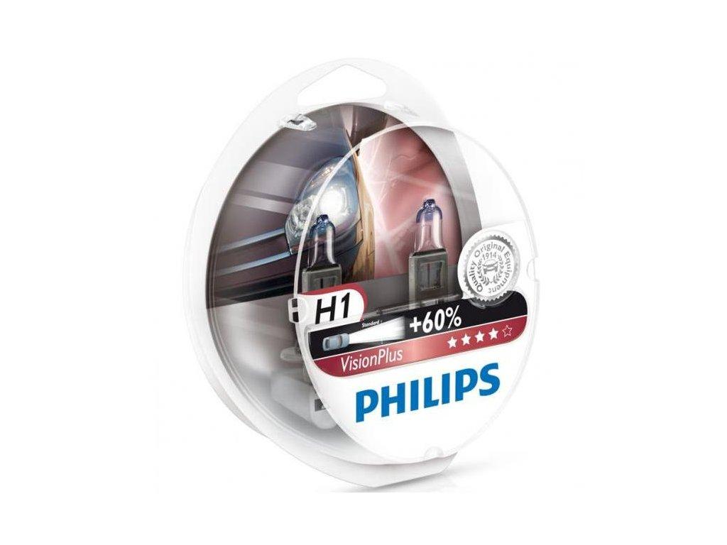 PHILIPS Žiarovka 12V H1 55W P14,5s VisionPlus - set 2ks