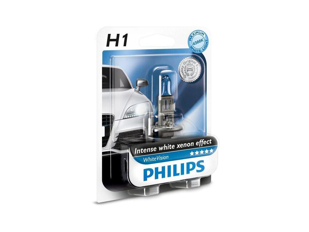 PHILIPS Žiarovka 12V H1 55W P14,5s WhiteVision -blister 1ks