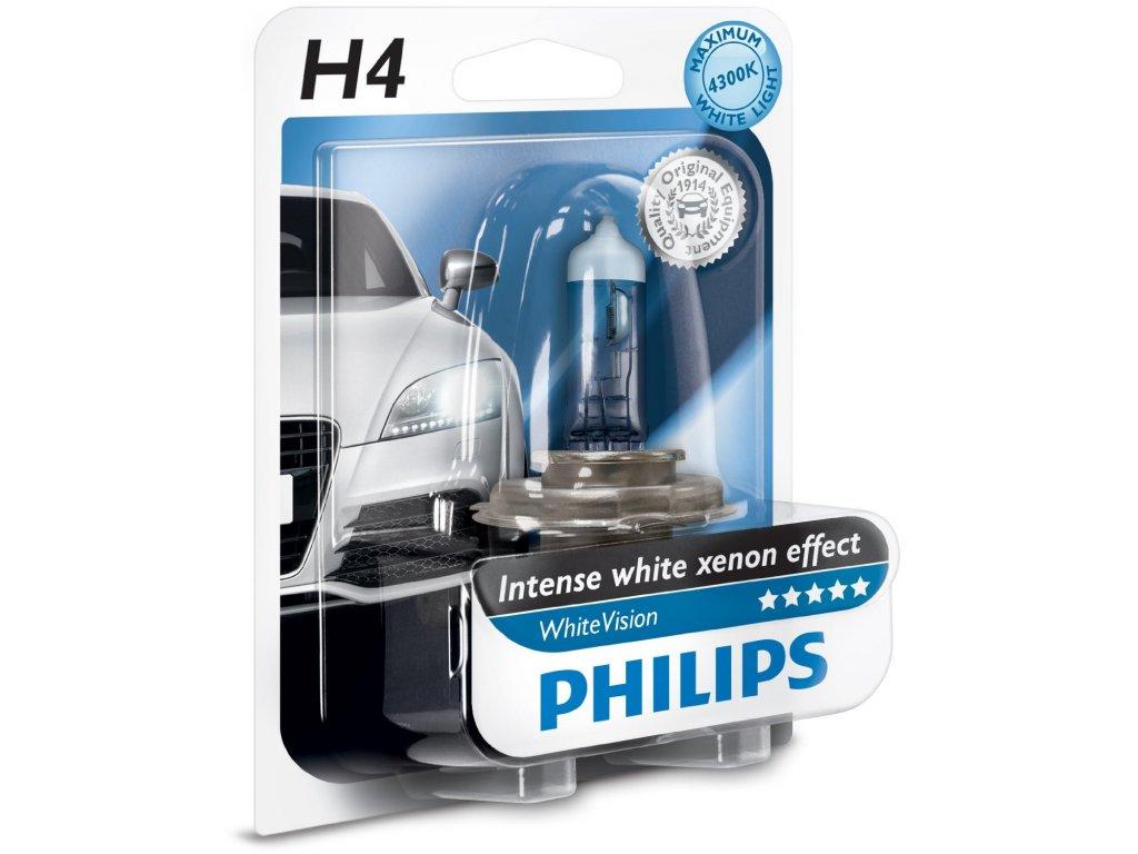 PHILIPS Žiarovka 12V H4 60/55W P43t WhiteVision - blister 1ks