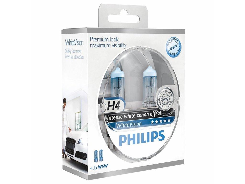 PHILIPS Žiarovka 12V H4 60/55W P43T+W5W WhiteVision -set2ks
