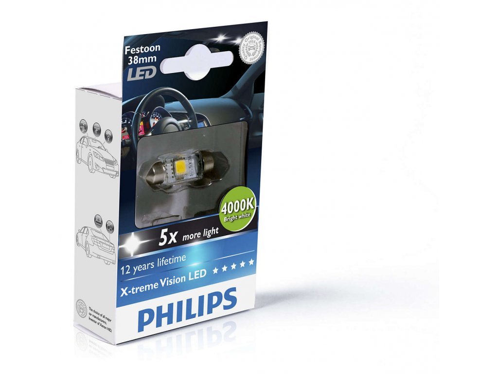PHILIPS LED Vision-sufit SV 10,5x38 - 1W-2LED- 4000K-CLEAR