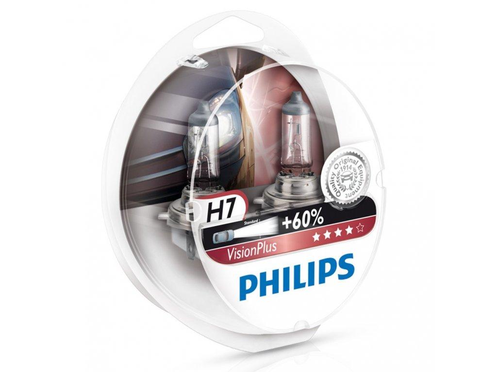 PHILIPS Žiarovka 12V H7 55W PX26D VisionPlus +60%- set 2ks