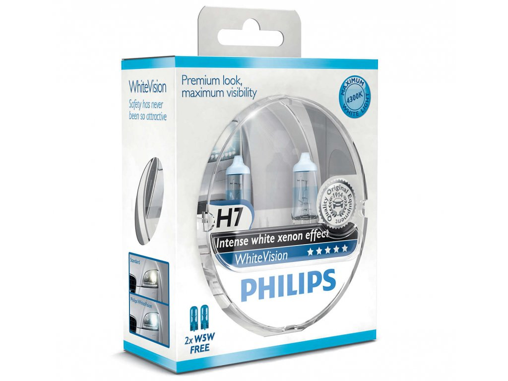 Philips WhiteVision H7/12V 55W PX26d - set 2ks  + W5W zadarmo set 2ks