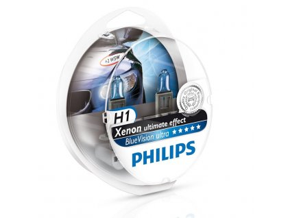Philips BlueVision Ultra H1/12V 55W P14,5s + W5W zadarmo-set 2ks