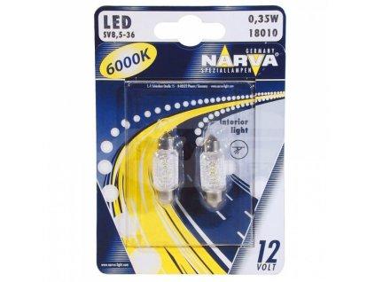 LED -sufit 12V SV 10,5x38 (C5W) - 0,35W-3LED- 6000K