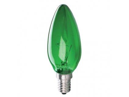 Žiarovka 240V 25W E14 sviečka-zelená