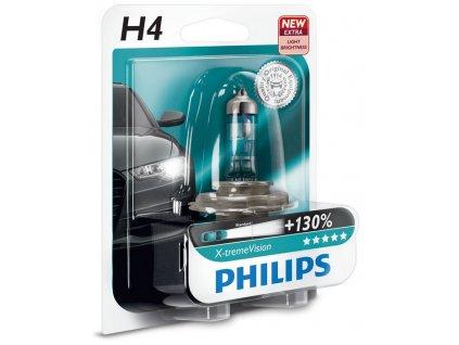 """Automobilové žiarovky Philips X-tremeVision sú tie najjasnejšie, ktoré si môžete kúpiť. Svietia lepšie ako všetky ostatné automobilové žiarovky, majú o 130% vyšší jas a mimoriadny dosah lúča až 130 metrov. Takže vidíte ďalej, reagujete rýchlejšie a riadite bezpečnejšie. Svetlomety X-tremeVision sú možné dostať vo variantoch H1, H4 a H7.  <span class=""""philipshdr"""">Až o 130% jasnejšie svetlo</span> Dokonalé osvetlenie je dôležité obzvlášť, pokiaľ ide o vzdialenosť - zvyčajne dosahuje 75-100 metrov pred vaše vozidlo. S automobilovými žiarovkami Philips X-tremeVision uvidíte až o 45 metrov ďalej, čím získate navyše 2 sekundy času na reagovanie. Automobilové žiarovky Philips X-tremeVision výrazne zlepšia vašu viditeľnosť tým, že na ceste bude až o 130% viac svetla. To vám pomôže rozoznať prekážky a všetky potenciálne nebezpečenstvá skôr ako s akýmkoľvek iným halogénovým svetlometom.  <span class=""""philipshdr"""">O 20% belšie svetlo pre väčšie pohodlie a bezpečnosť</span> Jasné biele svetlo (3 700 K) je až o 20% belšie než u bežných svetlometov. Patentovaná technológia Gradient Coating ™ spoločnosti Philips produkuje silnejšie svetlo. Môžete si teda vychutnávať výkon najjasnejšieho osvetlenia a zážitok z veľmi pohodlnej nočnej jazdy.  <span class=""""philipshdr"""">Viac svetla, lepší výkon</span> Svetlomety Philips X-tremeVision boli vytvorené ako dokonalé, čo sa týka viditeľnosti a výkonu. Vďaka optimalizovanej technológii vysoko presných vlákien spoločnosti Philips, presnej povrchovej úprave a vysoko kvalitnému kremennému sklu UV produkujú až o 130% jasnejšie svetlo bez kompromisov ohľadom životnosti. Môžete sa teda tešiť až na 450 hodín radosti z jazdy - vztýčili sme nový medzník v oblasti osvetlenia automobilov."""