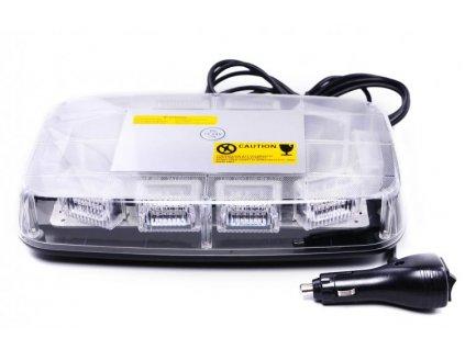 LED svetelná rampa s polykarbonátovým nerozbitným krytom Upevnenie dvoma magnetmi na spodnej časti rampy Maximálna konstrukčná rýchlost: 90km/hod Osadenie: deset LED blokov, každý s 3ks 3W LED Homologace: R10 a R65 Napájanie CL zapalovačovým konektorom s vypínačom a prepínačom svetelných možností Počet svetelných možností: 25