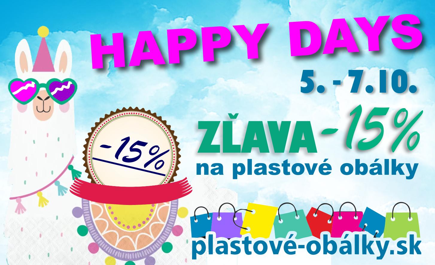 HAPPY DAYS Plastové obálky -15% AKCIA