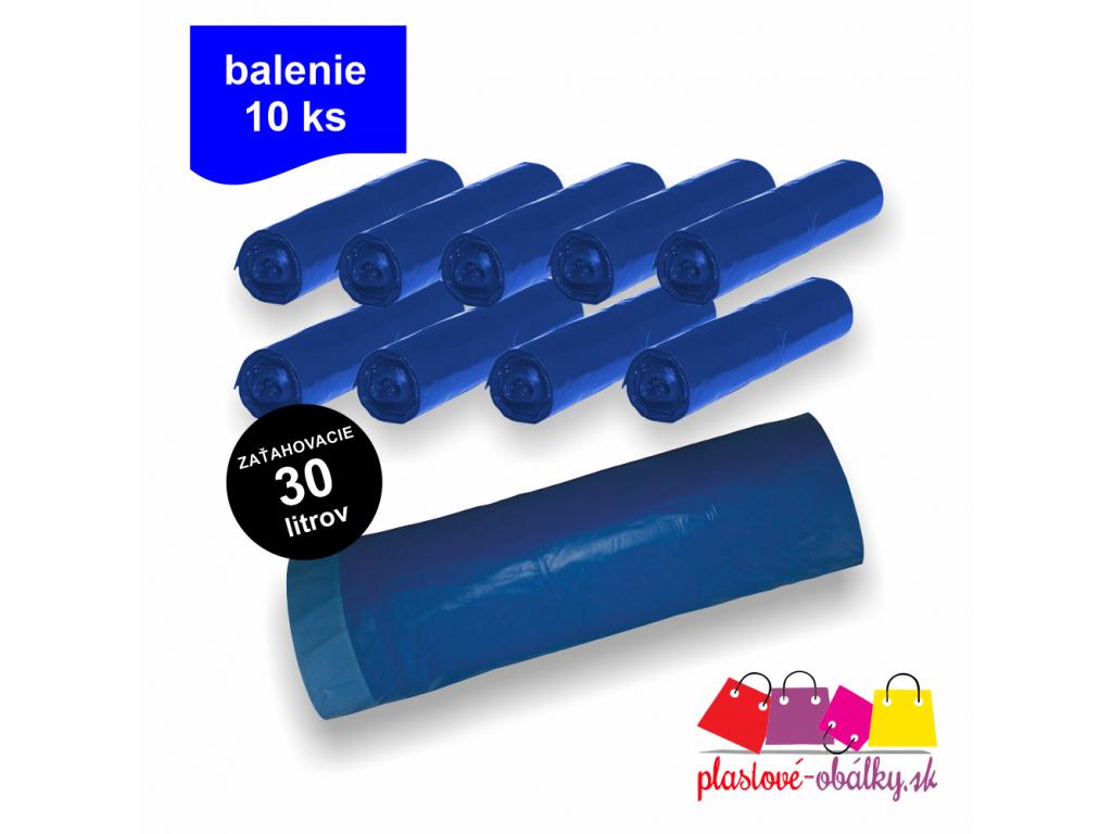 10x 30l Vrecia do koša zaťahovacie modré