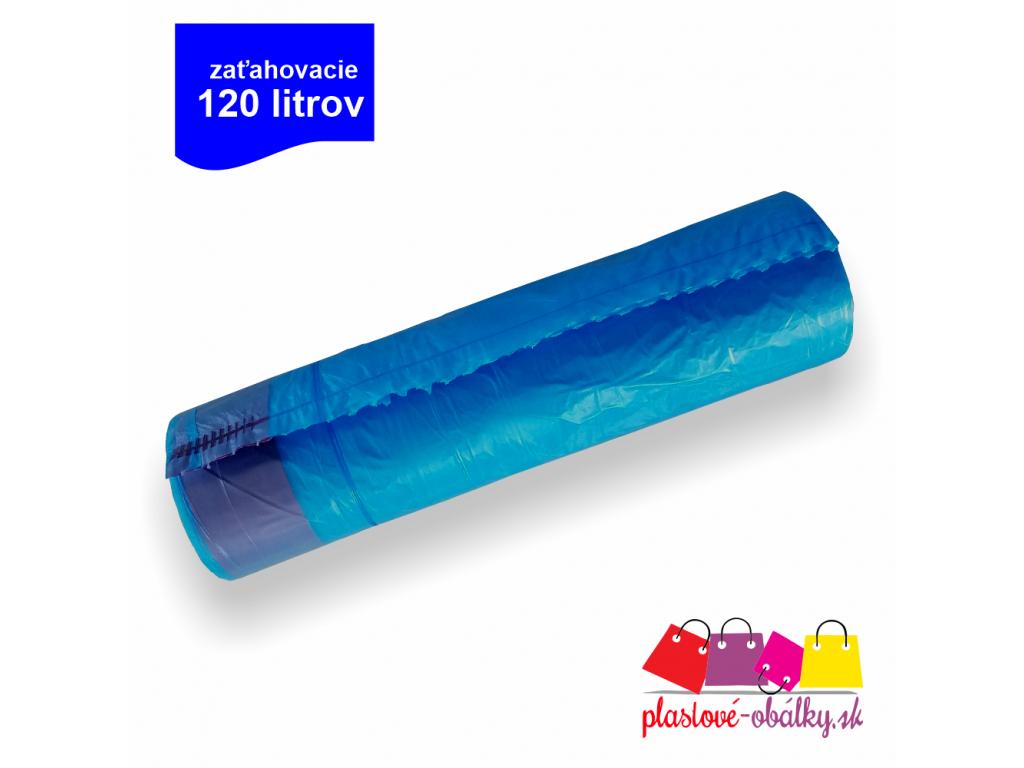 LDPE vrecia do kosa zatahovacie modre 120litrov 30mi 70mm 110mm 25ks rol logo plastove obalky