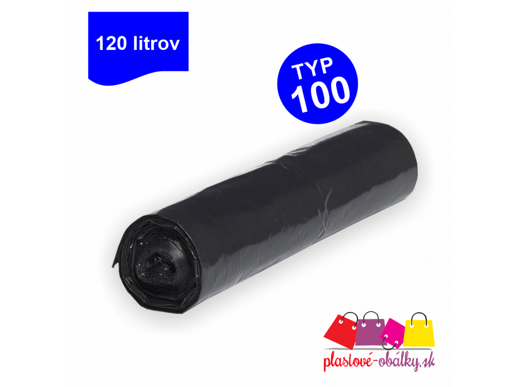 120l Vrecia na odpad TYP 100 čierne rolované