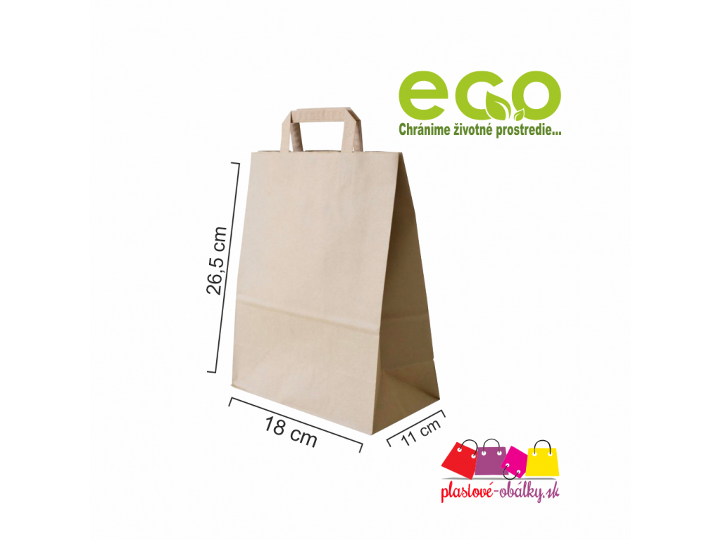 Taška papierová 18x11x26,5cm hnedá, ploché ucho 250ks/bal
