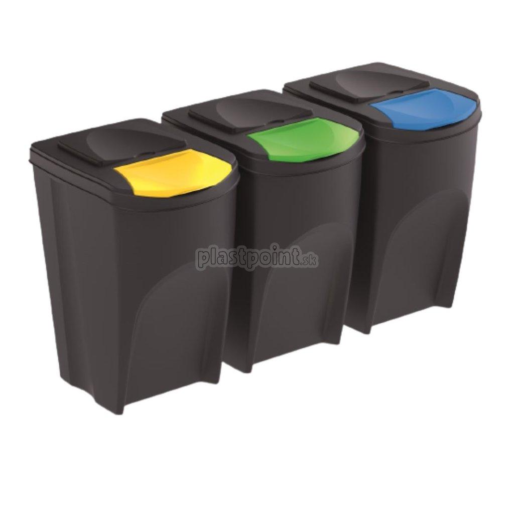 sada 3 odpadkovych kosov sortibox iv antracit objem 3x35l 1