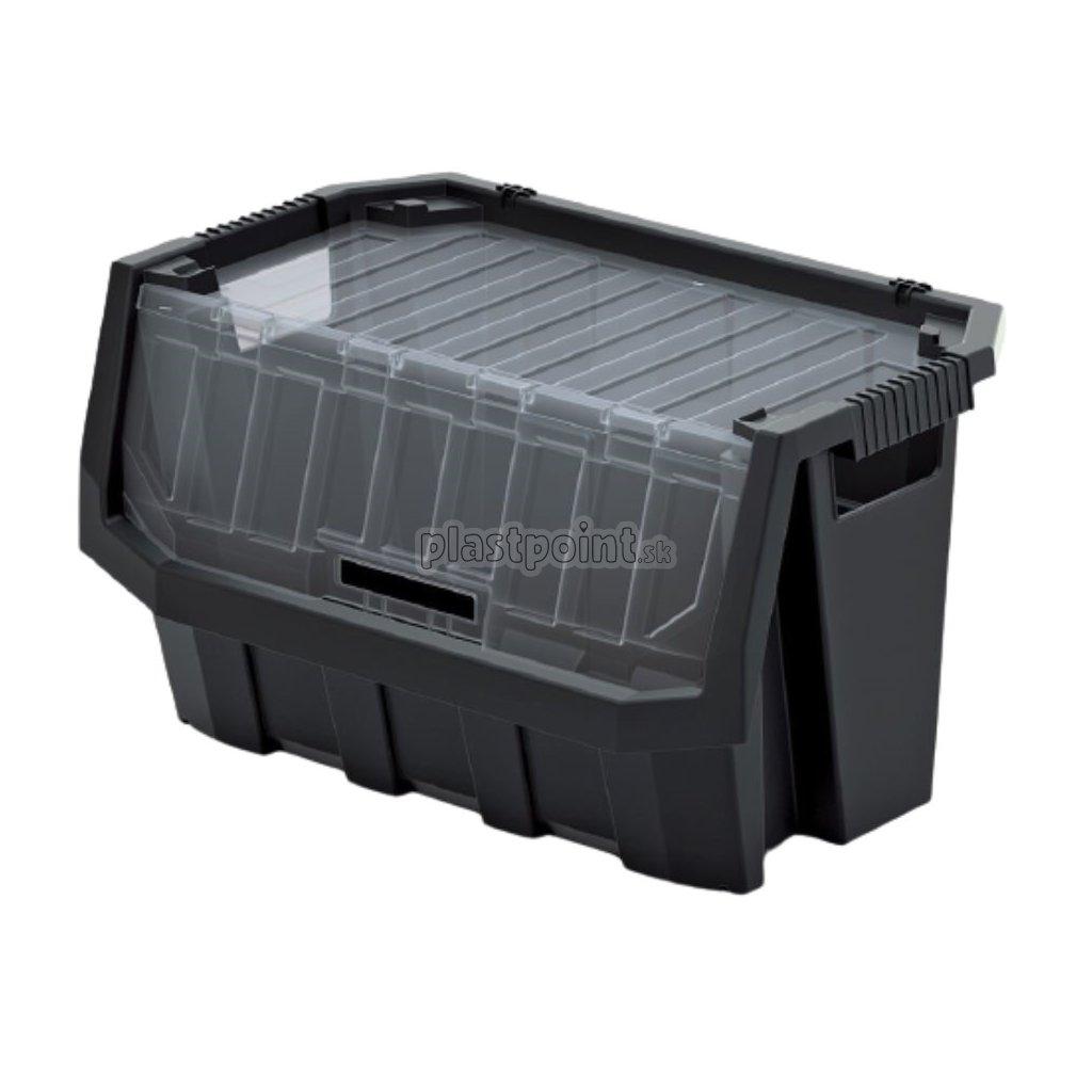 plastovy ulozny box uzatvaratelny truck max plus 396x290x280 cierny 1