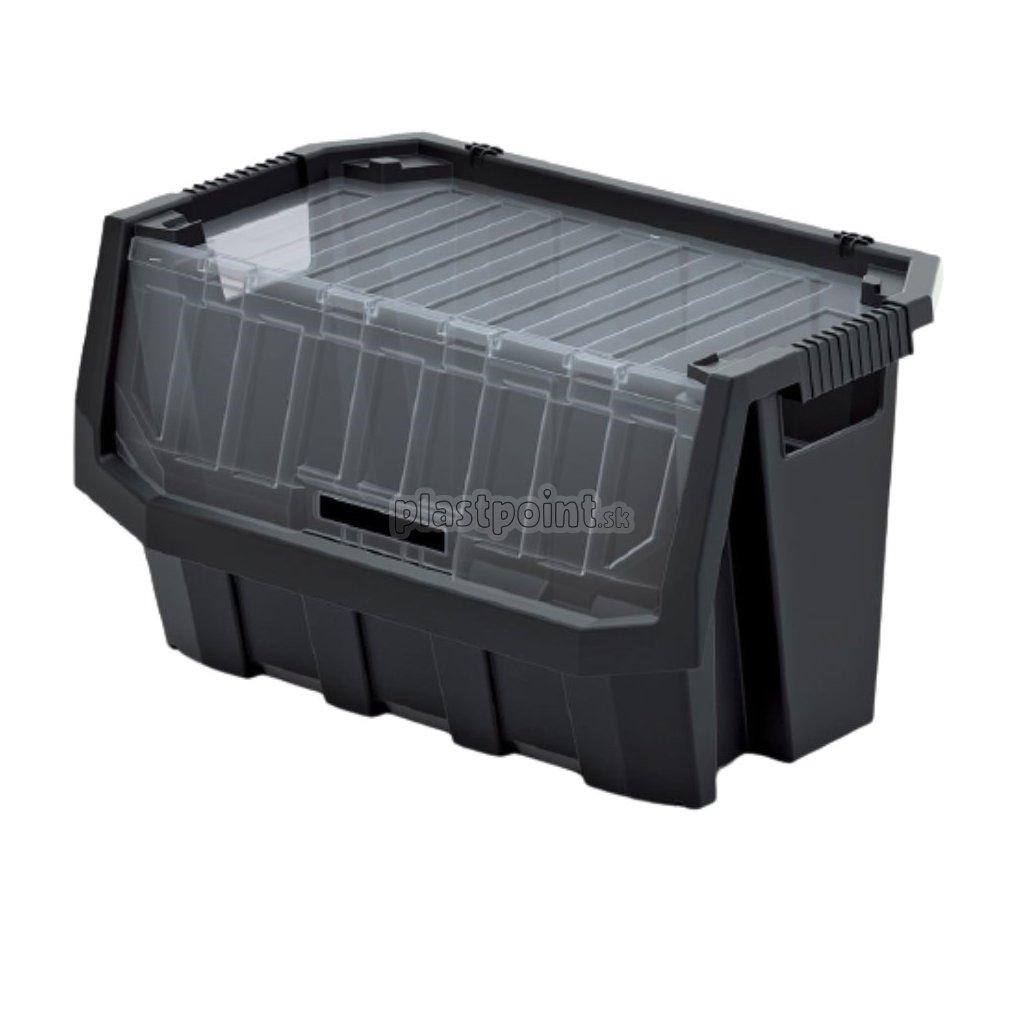 plastovy ulozny box uzatvaratelny truck max plus 580x380x342 cierny 1