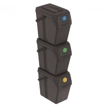 sada 3 odpadkovych kosov sortibox ii antracit objem 3x25l 1