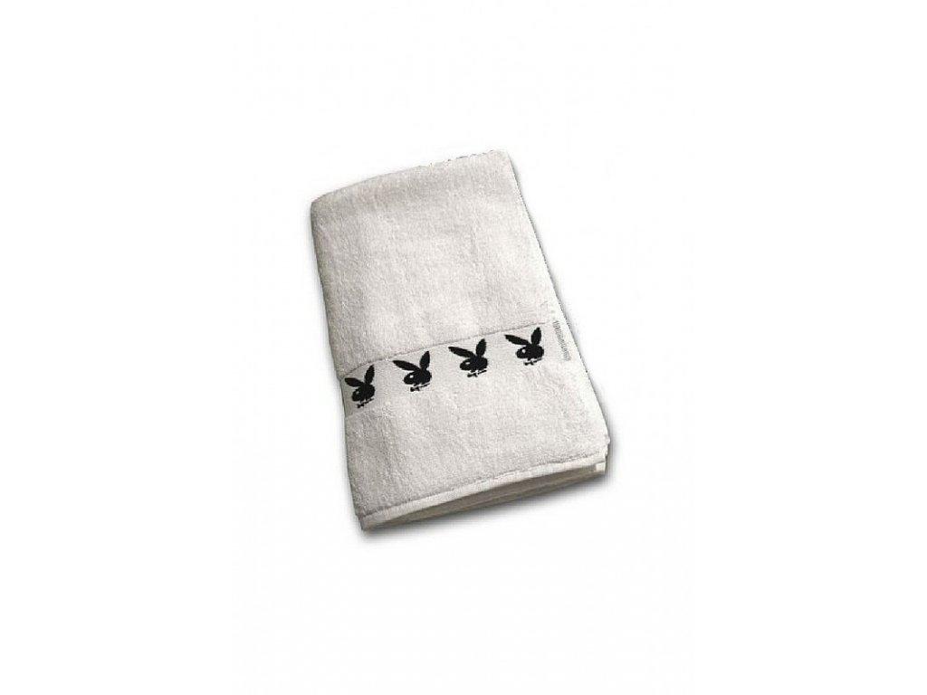 Bílý ručník s černými zajíčky 50 x 100cm