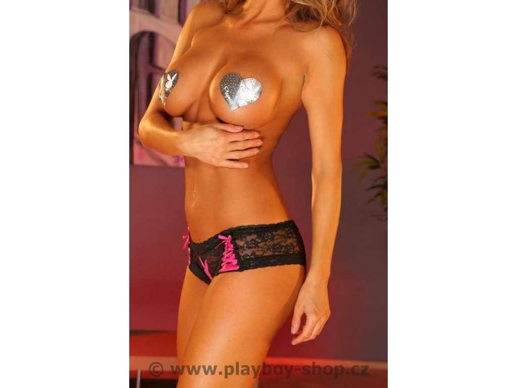 Celokrajkové černé Playboy kalhotky s růžovým vázáním