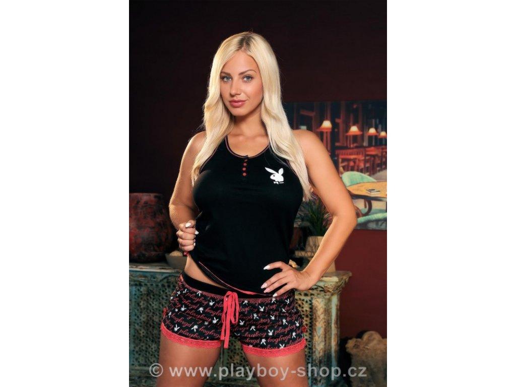 Černo-růžové pyžamo Playboy s krajkovými lemy