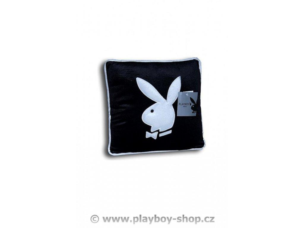 Čtvercový polštář černý s bílým zajíčkem