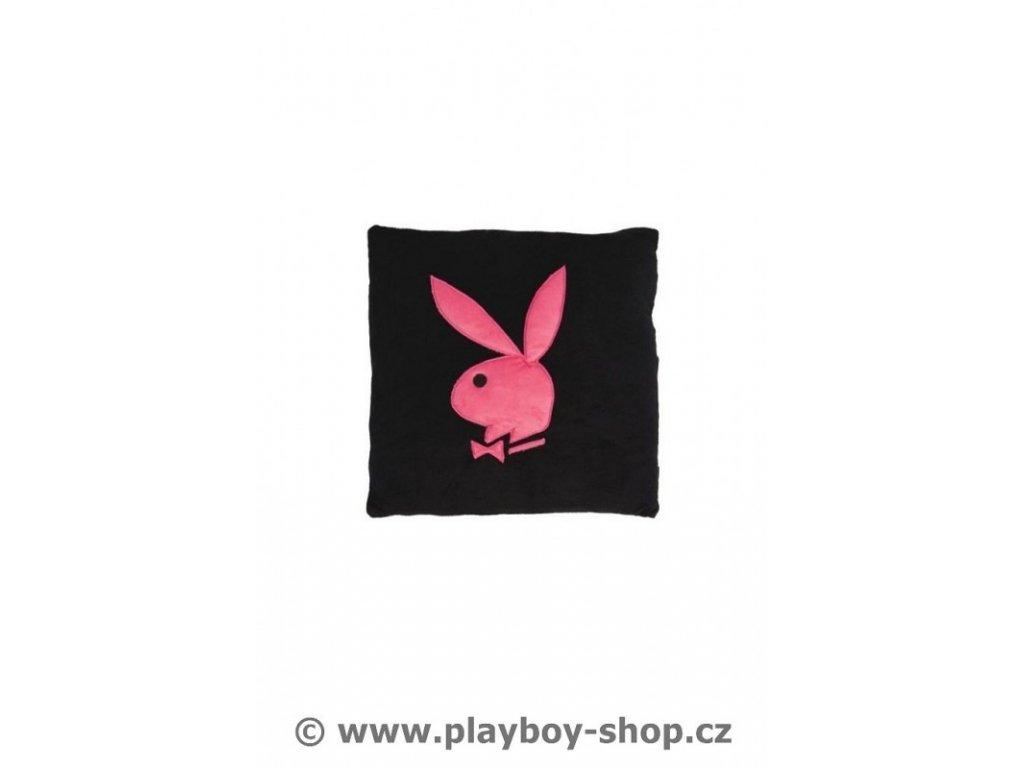 Čtvercový polštář černý s růžovým zajíčkem