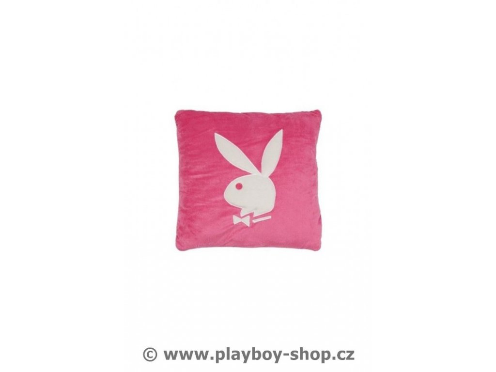 Čtvercový polštář růžový s bílým zajíčkem