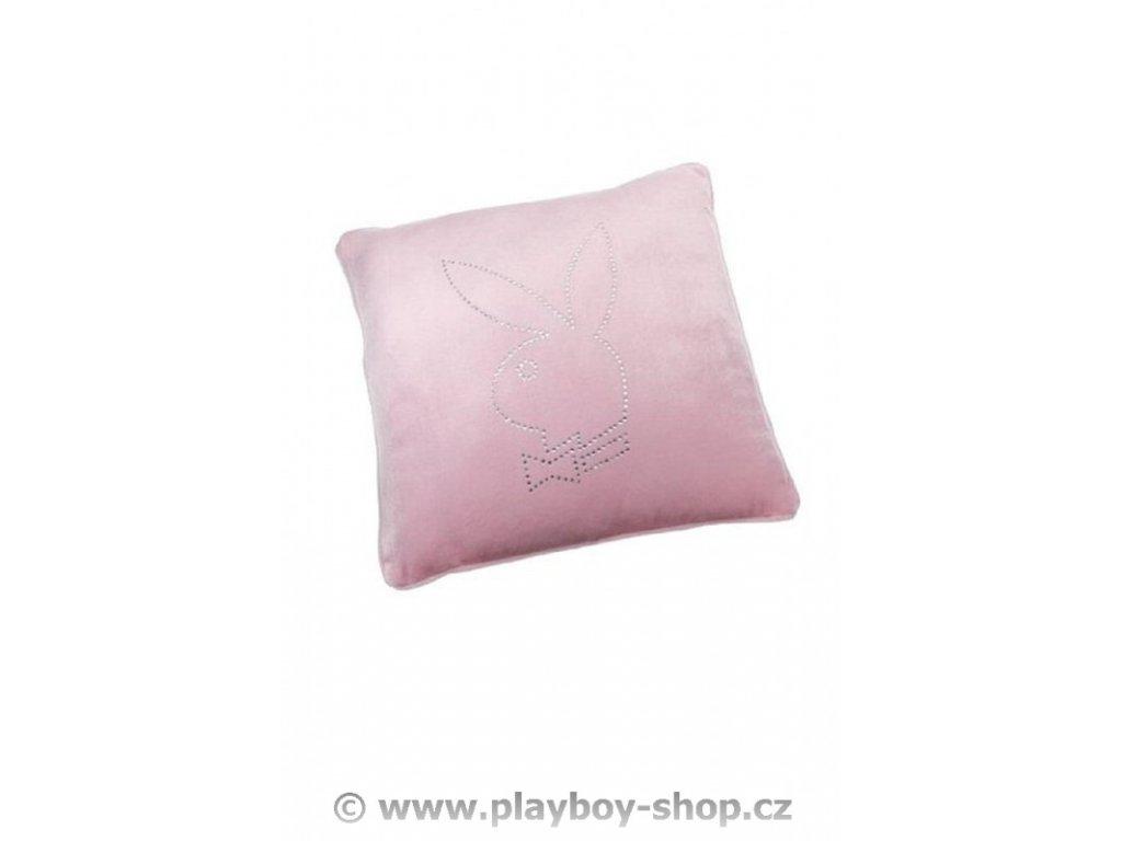 Čtvercový polštář růžový se štrasovým zajíčkem