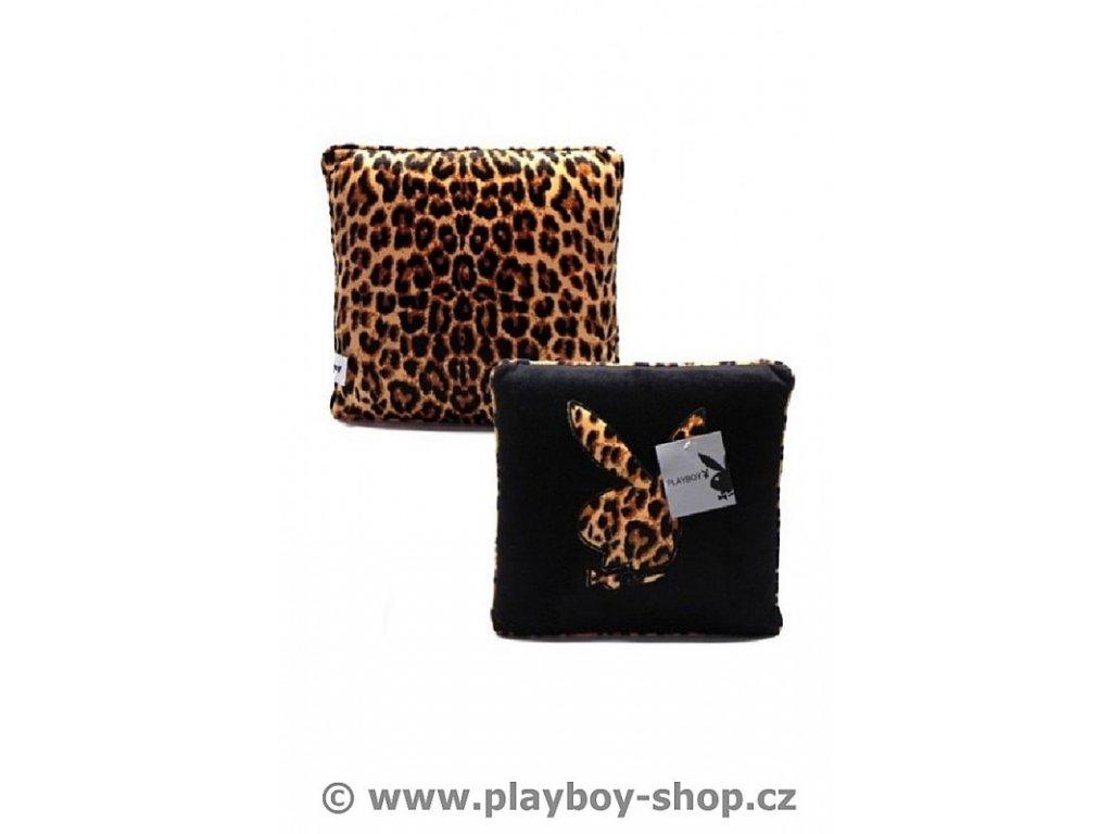 Čtvercový polštář s leopardím zajíčkem