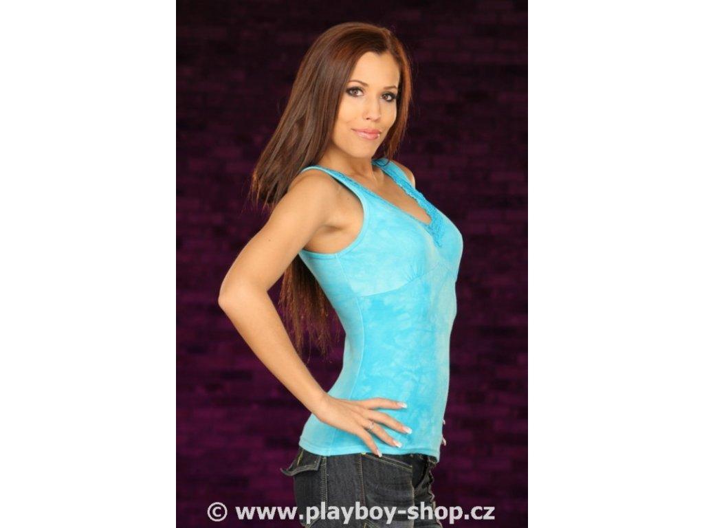Dámské tílko Playboy batika s krajkou do V