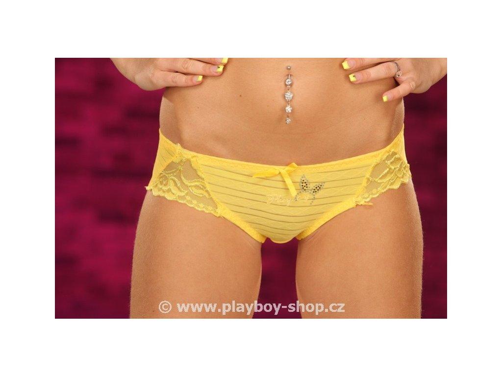 Kalhotky Playboy s krajkou na bocích a nápisem