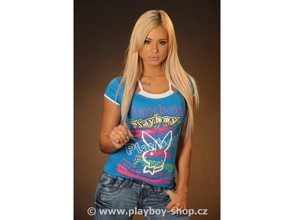 Klasické tričko s barevnými nápisy Playboy
