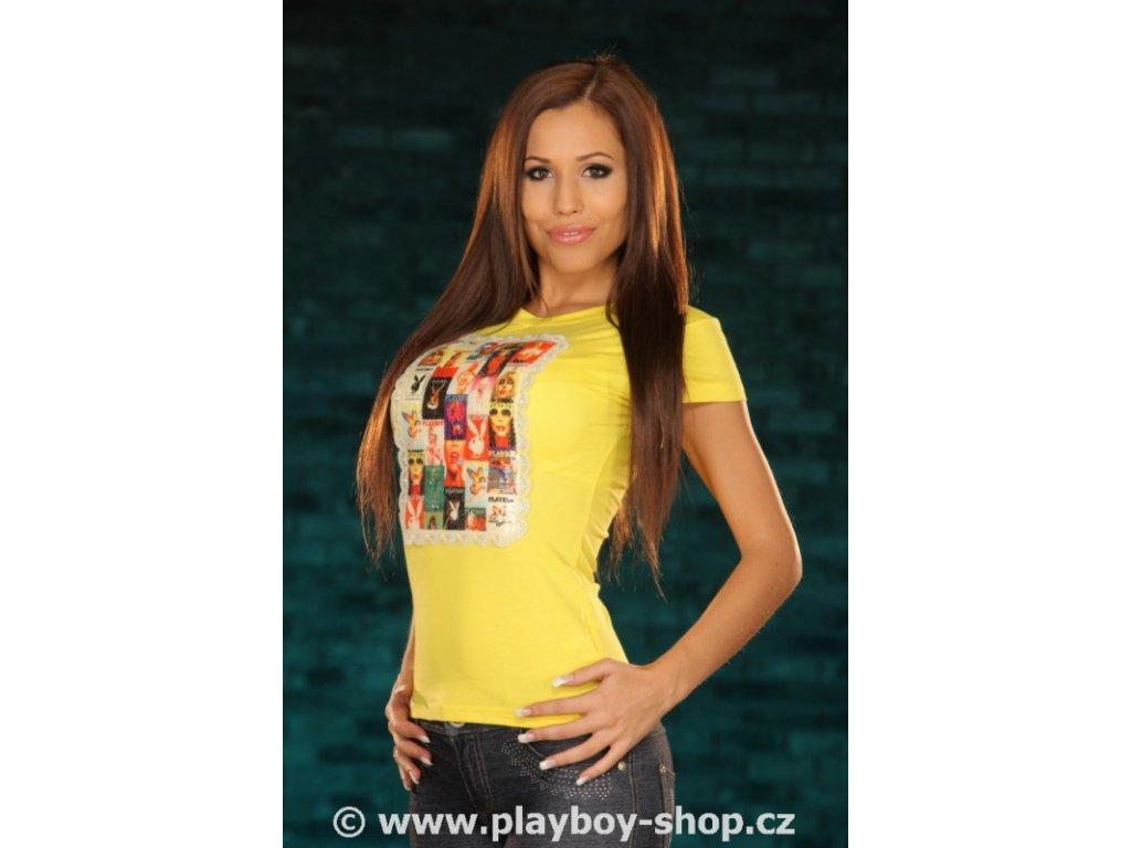 Luxusní dámské tričko Playboy s flitry a krajkou