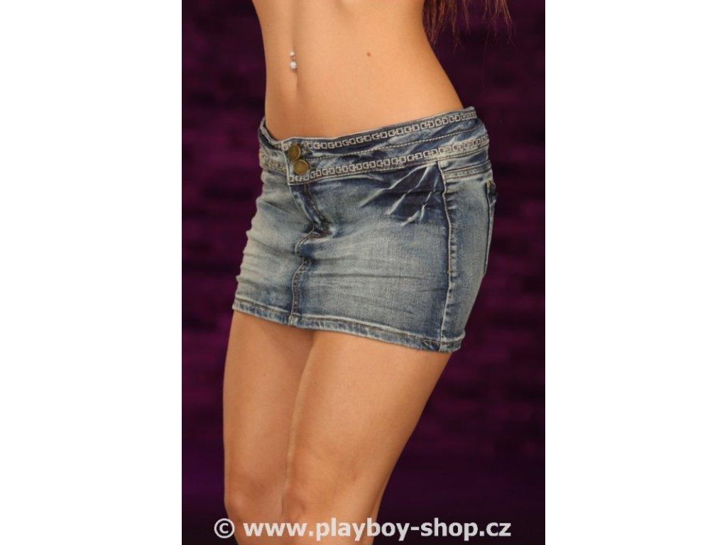 Mini jeans sukně Playboy s kostičkami okolo pasu