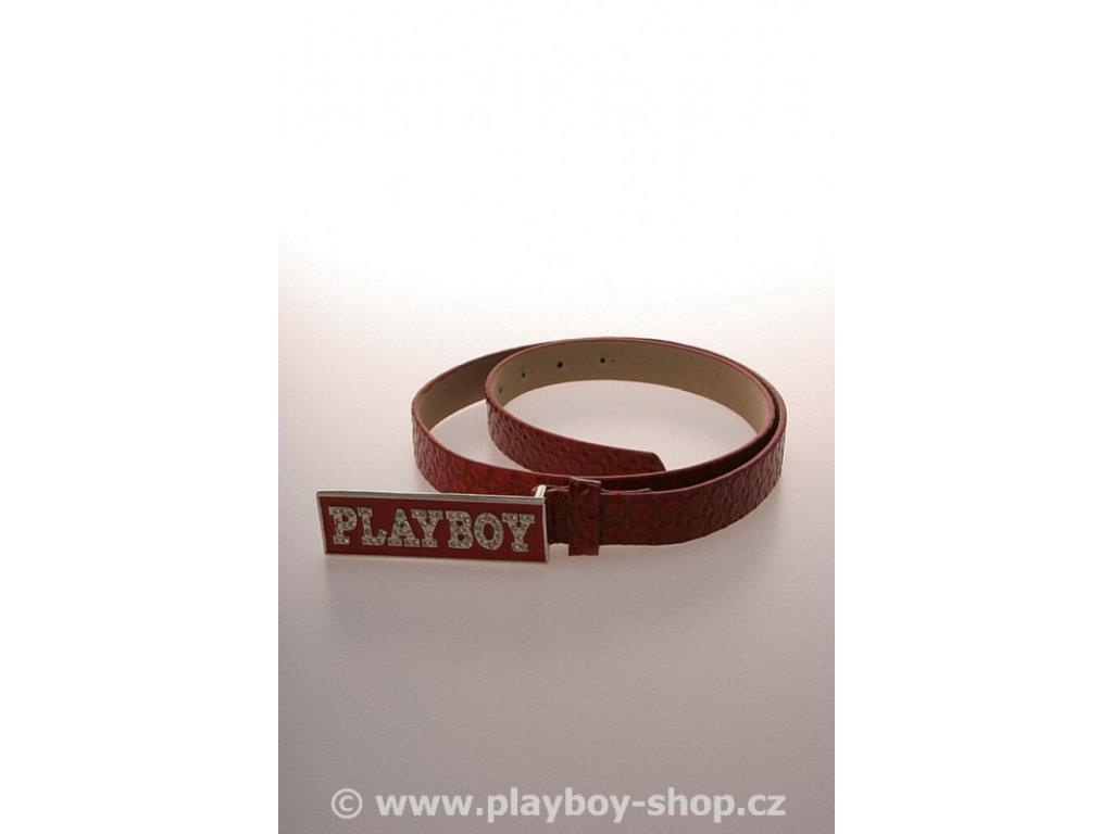 Pásek červený s bílým kamínkovým nápisem Playboy
