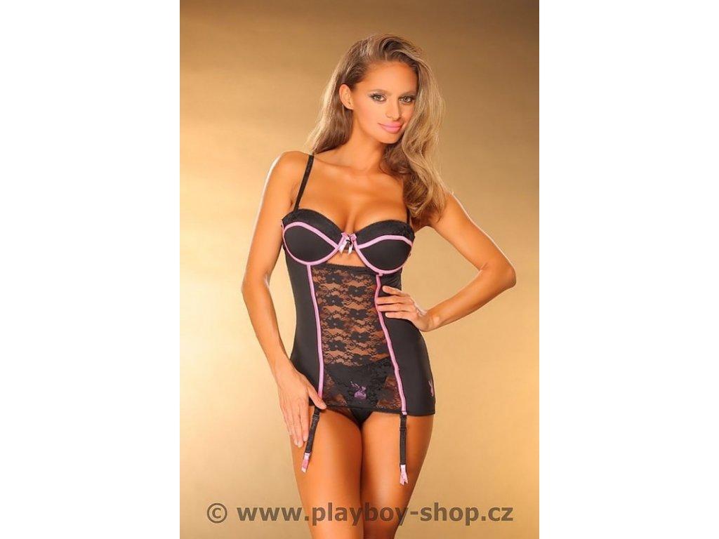 Playboy košilka s krajkou a podvazky