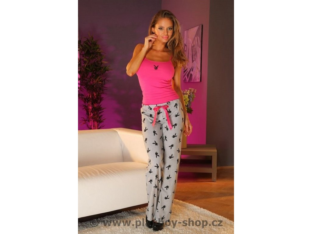 Pyžamo Playboy růžové tílko a šedé kalhoty