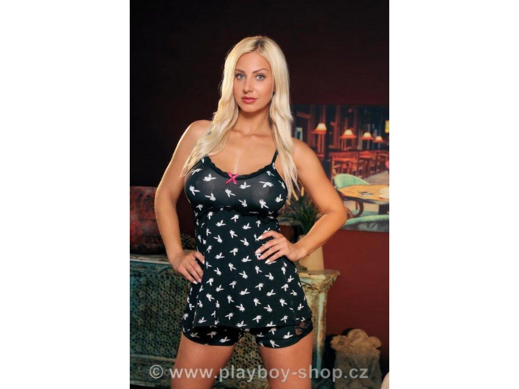 Pyžamo Playboy s bílými zajíčky a krajkovými kraťásky