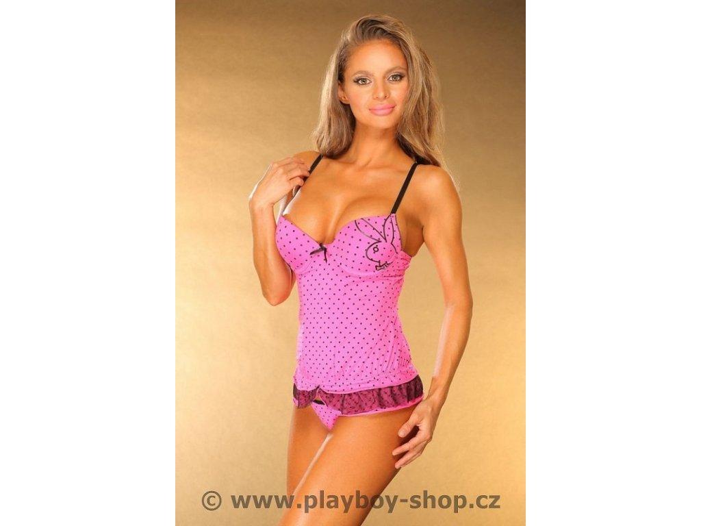 Růžová souprava Playboy s puntíčky
