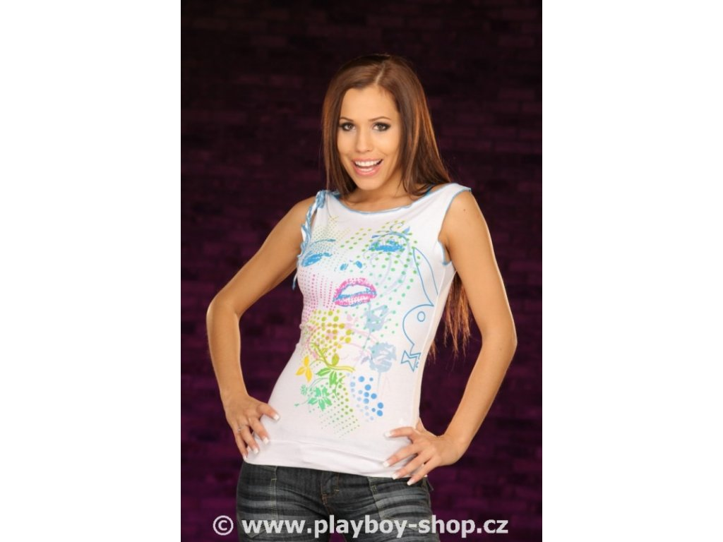 Sexy dámské tílko Playboy s motivem obličeje