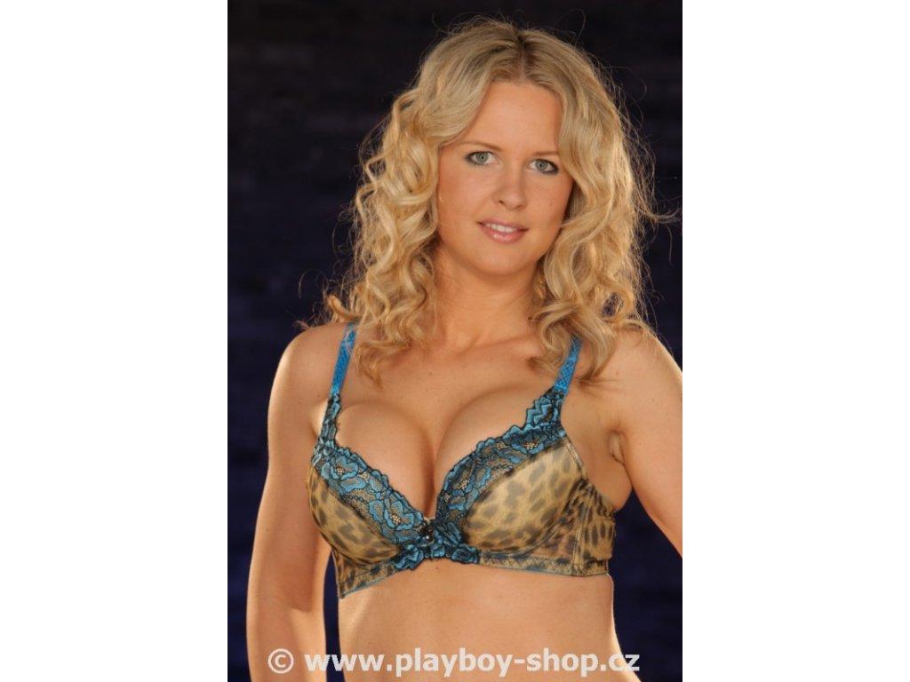Sexy tygří podprsenka s modrou krajkou