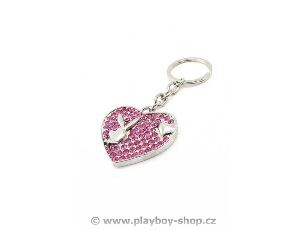 Srdce s růžovými kamínky a zajíčkem