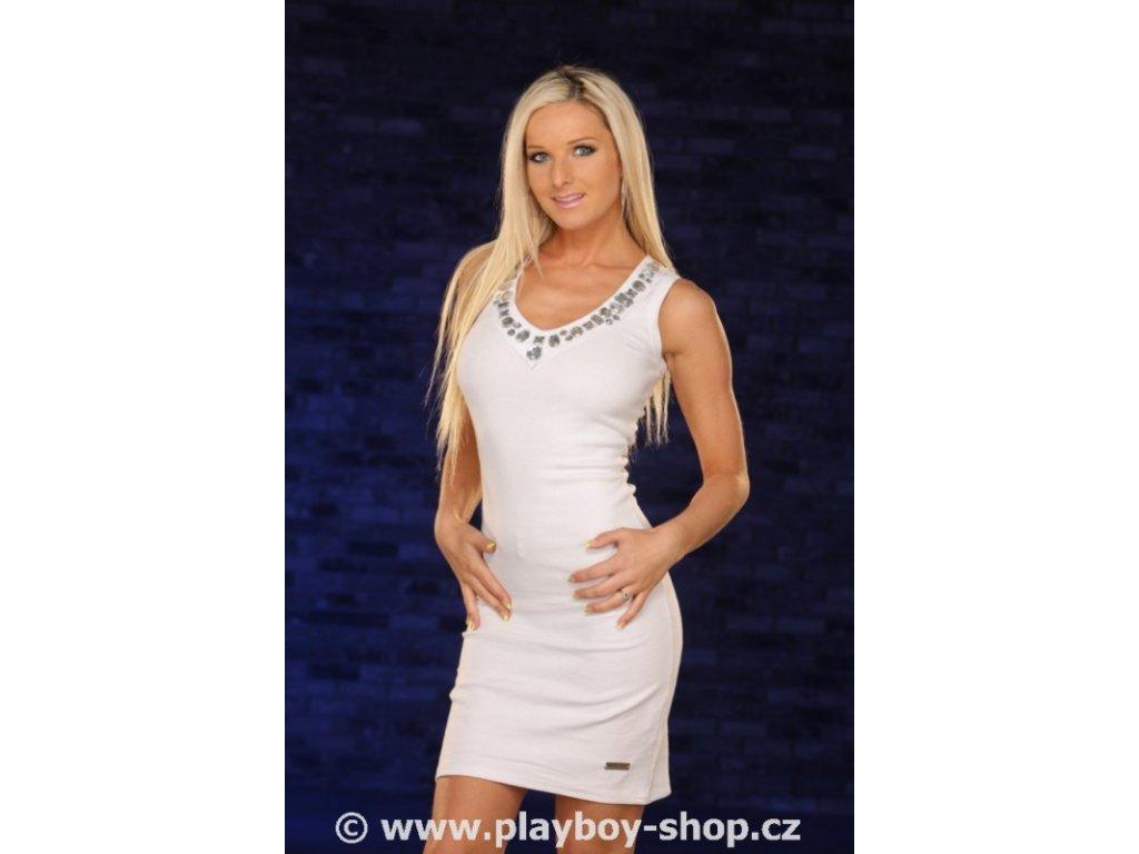 Šaty Playboy s kameny okolo výstřihu