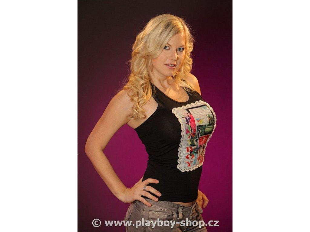 Tílko s flitry, krajkou a nápisem Playboy