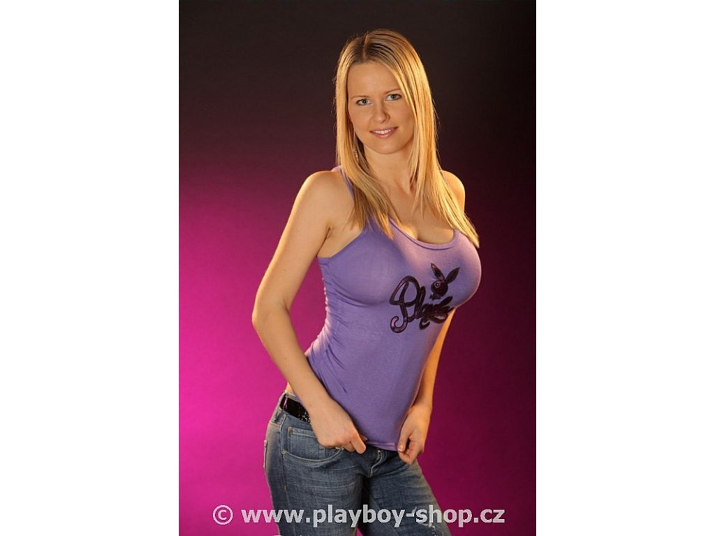 Tílko s nápisem Playboy a zajíčkem